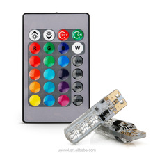 New Multi Color RGB T10 194 168 W5W LED Wedge Interior Reading light Bulbs 6SMD 5050 Strobe Flash 16 Colors With Remote Control