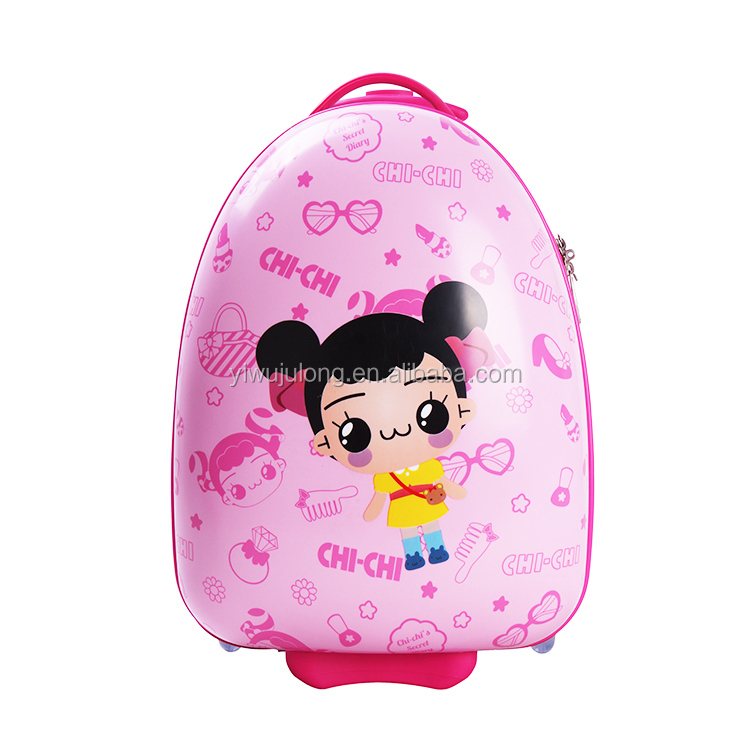 Cute girl pink printing hard shell cartoon kids children trolley luggage
