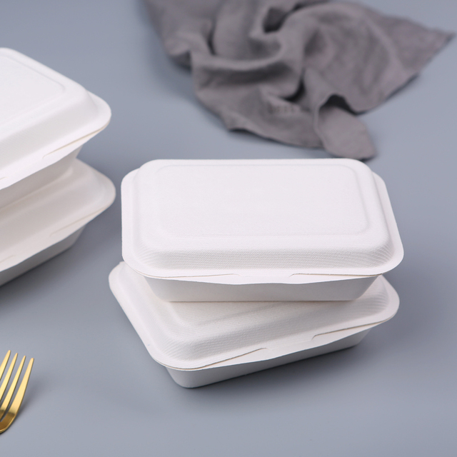 Takeaway biodegradable disposable bagasse hinged food container box