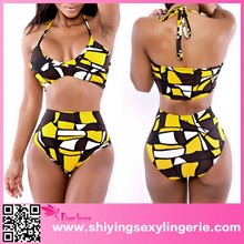 2015 Yellow Black High-waisted Two Piece Bikini Swimwear hot photo
