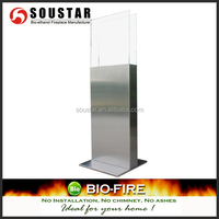 Pure Flame Silver Window Flame A3 Free Standing Gel Fireplace
