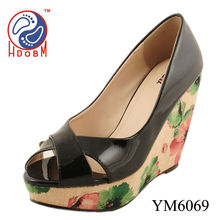 Black platform high heels women open toe printing wedges sandals
