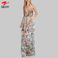 OEN Hign Quality Double Strap Embroidered Long Evening Dress