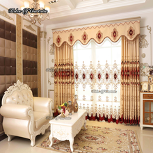Luxury european style curtain design and cheap price embroidery sheer curtain fabric