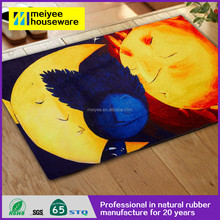 2016 New arrival Cute Sun Moon Earth Babies Washable floor mat printed, Non-Slip natural rubber tree natural rubber mat