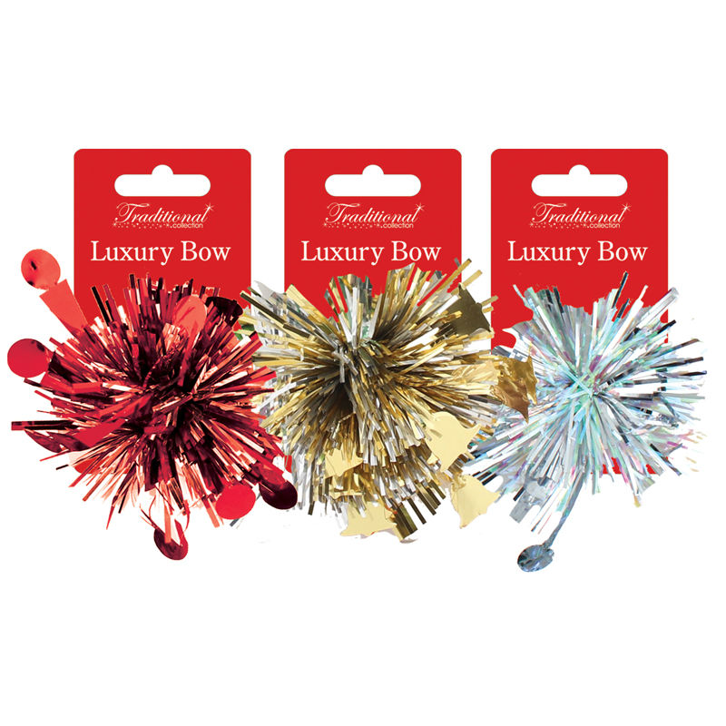 Pom Pom Gift Bow on Clip Strip tinsel material