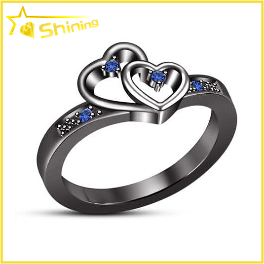 black gold plating silver joyas jewelry double heart women ring