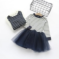 Autumn Girls Dress 2016 New Casual Style Girls Clothes Long Sleeve Striped Mesh Design Dress for Kids Clothes 3-7Y