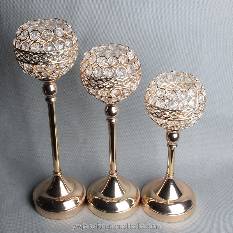 gold iron crystal votive candle holder flower stand for wedding table centerpieces