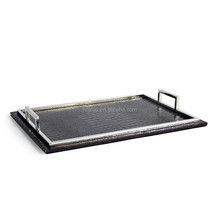 New style croco faux leather serving tray with metal handle