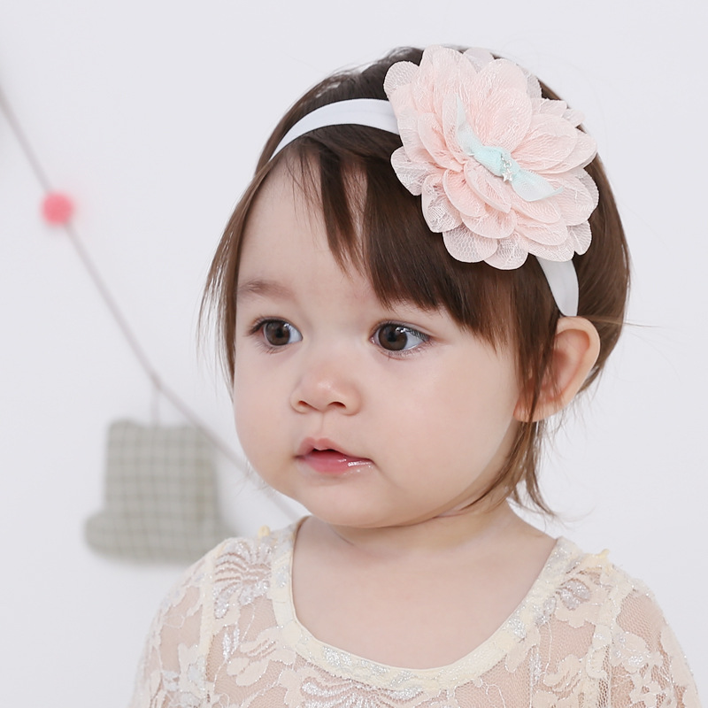 BQ085 2017 New Style Infant Elastic Hair Accessories Headband For Baby Girl with flowers