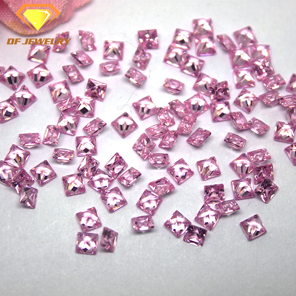 Synthetic CZ Gemstone Square Cut Pink Cubic Zirconia