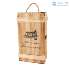 Wholesale Button Closure 2 Bottles Pine Wooden Box Wine Carrying Crate For Sale
