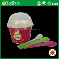 16oz Disposable Ice Cream Paper Cups with plastic spoon and dome lids