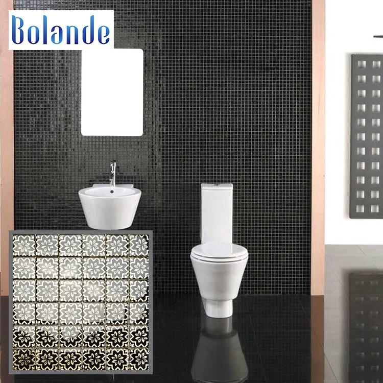 Decorative Glass Flowers Pattern Mosaic Tiles Dubai Bathroom Backsplash 30x30cm Crystal Black Mosaic Tile Buy Kitchen Backsplack Good Price Matte