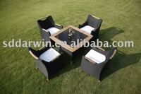 Outdoor Rattan Dining Chairs and Teak Wood Table Set SV-27002GP
