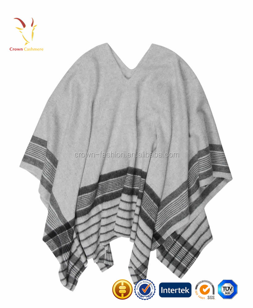 Women Stripe Cashmere Sweater Poncho Sweater