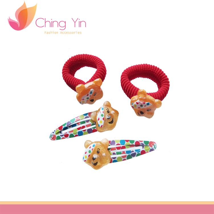Bear hair tie with same design hair clip in stock baby hair accessories wholesale
