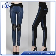 stretch leather leggings women tubes sexy ripped leggings