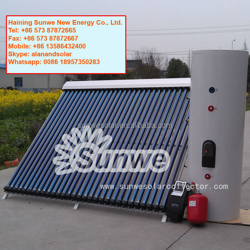 Haining Sunwe 300L Separate Pressure Solar Water Heater With Two Coils Heat Exchanger Hot Water Heating