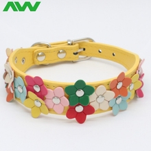 low price double row colorful flowers adjustable cute dog collar