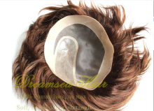 Silky straight Unprocessed remy european human hair men hair toupee #2 dark brown middle part or free part