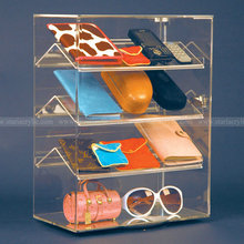 Revolving acrylic rectangular showcase, Lockable Acrylic Jewellery Display Cabinet, Acrylic Storage Box for eyeglass purse