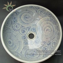 Oriental hand painted ceramic artistic bathroom vassel sink