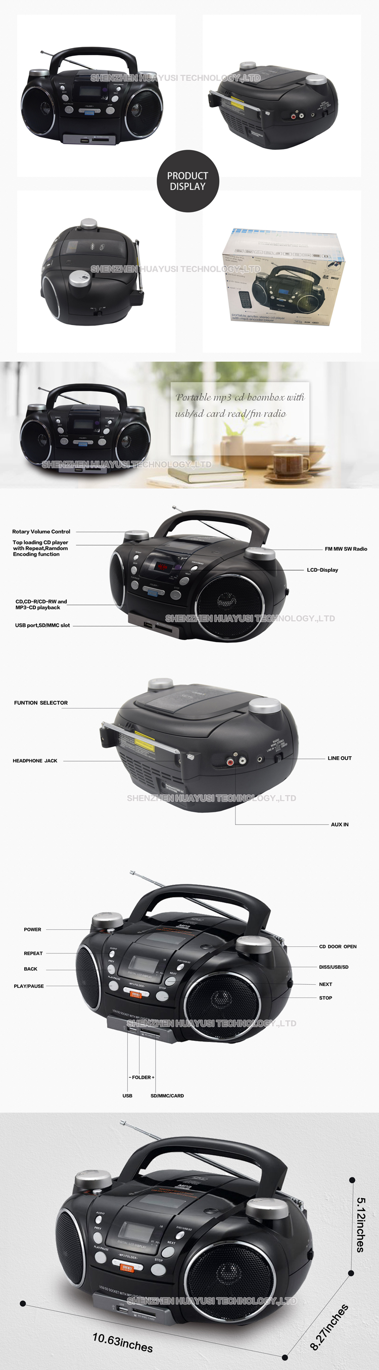 private design mp3 blutooth cd boombox player with fm/radio/usb port
