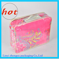 Customized pvc handles bags for quilt packaging plastic handle