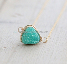 Druzy Triangle Necklace, Mint Green Bezel Wrapped Necklace in Gold, Rose Gold, Silver - Buttermint