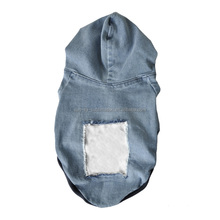 Pet Cloths Personalized Dog Denim Hoodie with Hat(S/M/L/XL)
