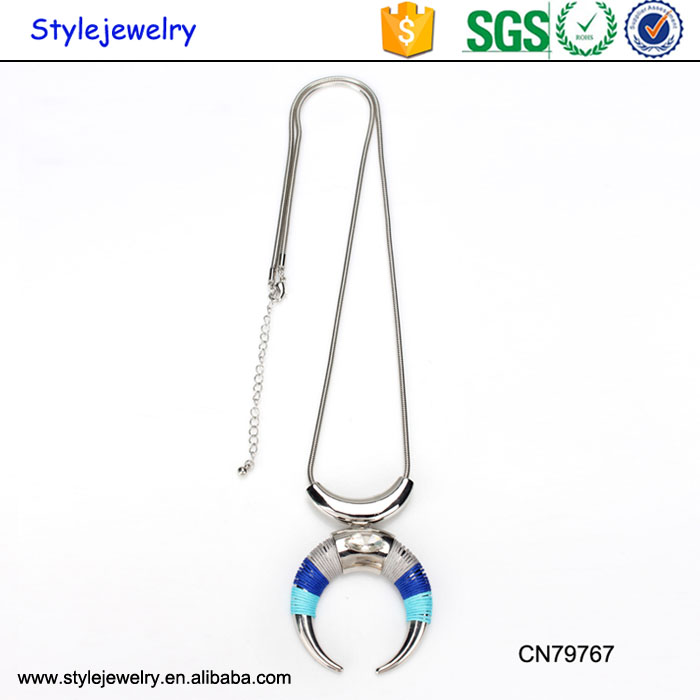 CN79767 New Designs Custom Crescent Moon Pendant Women Silver Jewellery Pendant Necklace