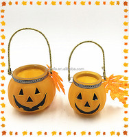 Pumpkin shaped glass candle jars,halloween lantern,pumpkin shaped lantern with led light
