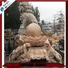 Afterglow Red Marble Lion Statue Sculpture for Garden Decoration
