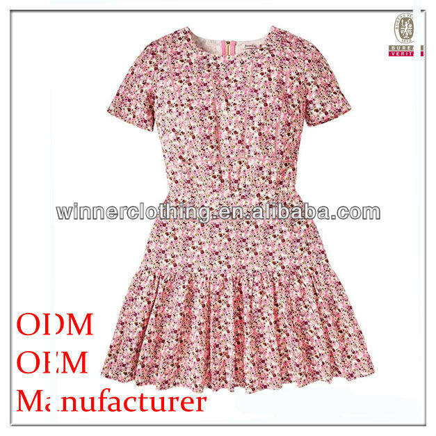 cute/sweet girl short puff floral print A-Line summer casual/party wear 100% cotton korean dress clothing for girls
