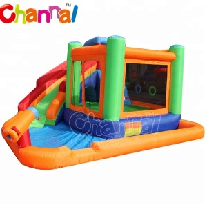 nylon backyard inflatable water slide/inflatable bouncy castle with slide for kids residential inflatable water slides