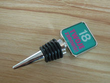 Square silver plated epoxy sticker custom logo metal bottle stopper