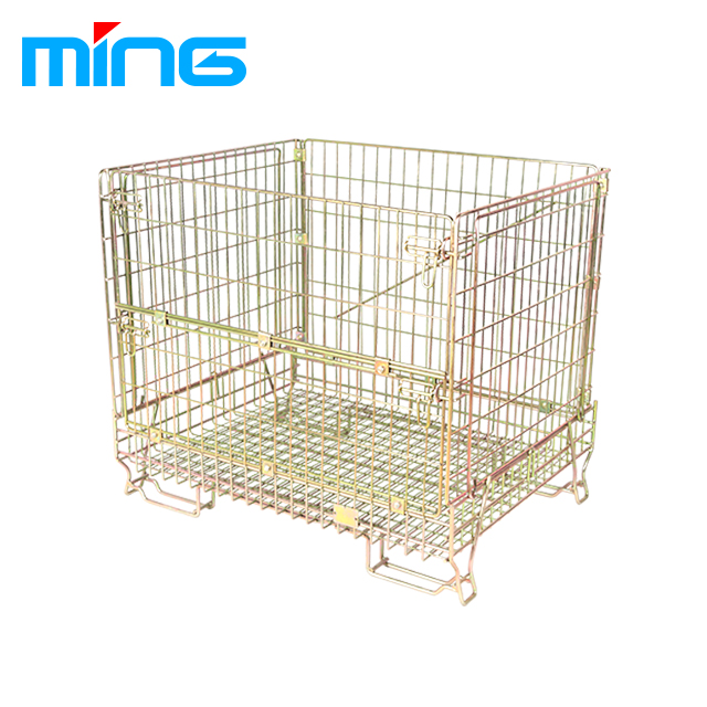 wire mesh foldable forklift pallet cage collapsible folding metal steel storage pallet cage