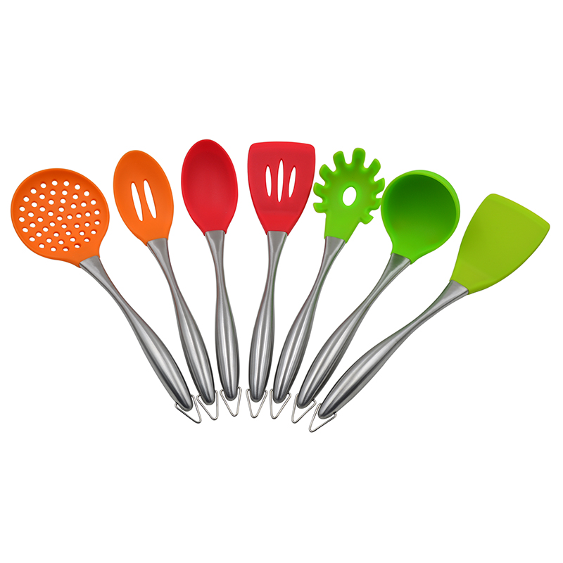 100% Food grade best price stainless steel handle 8 piece silicone kitchen utensil sets