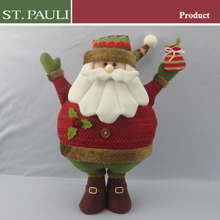 Factory promotional christmas themed toys big belly standing santa and snowman