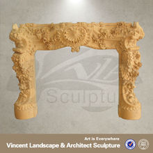 modern fireplace surround,marble fire surrounds,yellow fireplace surrounds VFM-NB059S