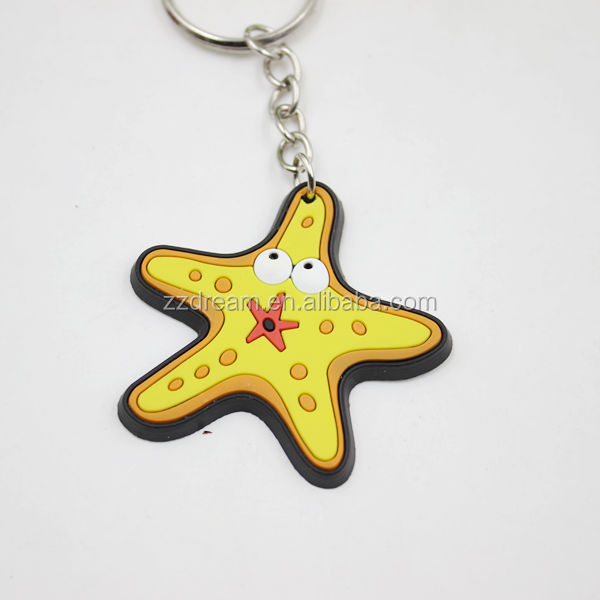 Low Price 2015 Top Selling Starfish Rubber Keychain