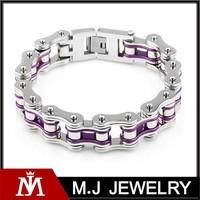 Unisex Stainless Steel Purple Chains Link Bracelet Womens Silver Motorcycle Biker Bracelet