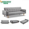 Three seater faux linen fabric sofa bed, grey living room couch, folding simple sofa bed