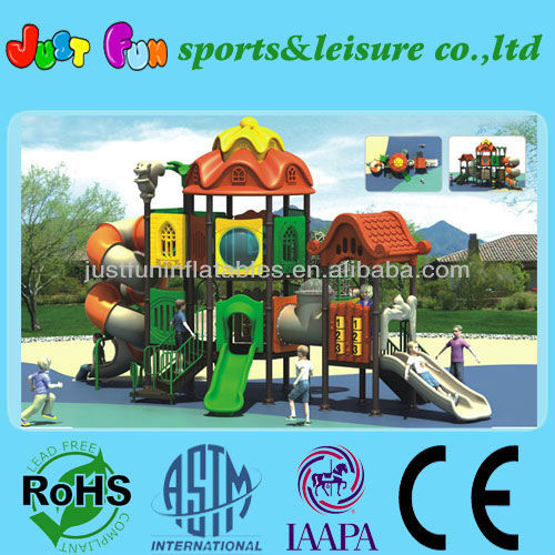 outdoor kids plasic playground sets with spiral tube slide