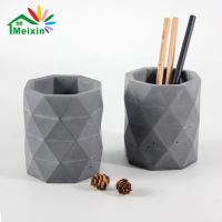 Diamond Shape Grey Pen Holder For