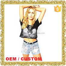 Custom OEM fashion crop tops women short tops t shirt tie and dye