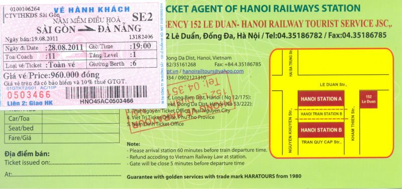 Train ticket in Vietnam