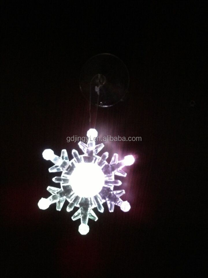Christmas LED light suction cup plastic wall window snowflake ornament